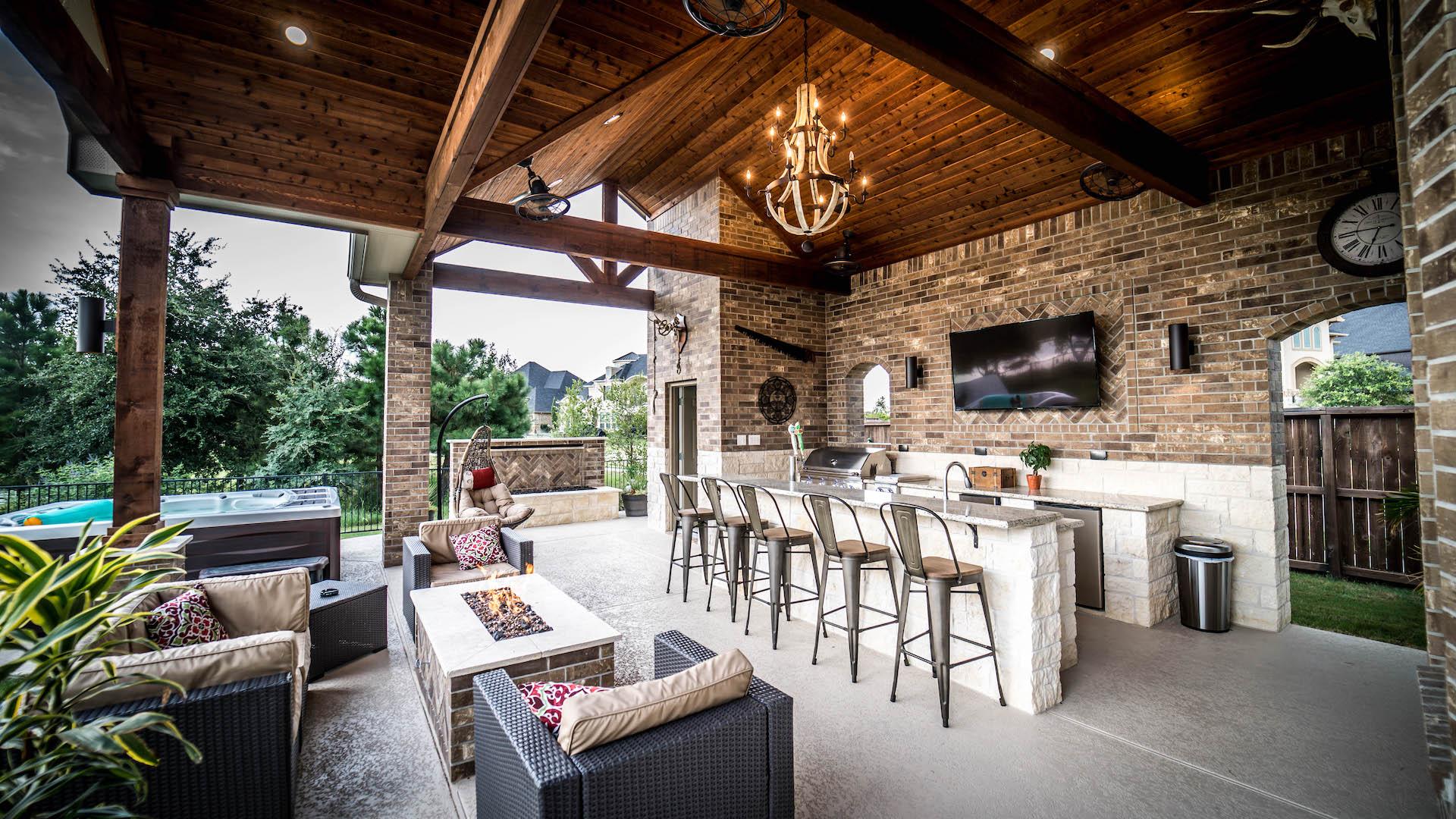 lodge inspired custom covered patio