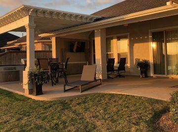 outdoor patio with custom pergola