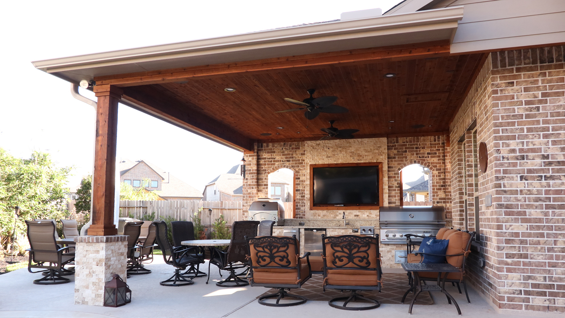 patio cover with outdoor kitchen