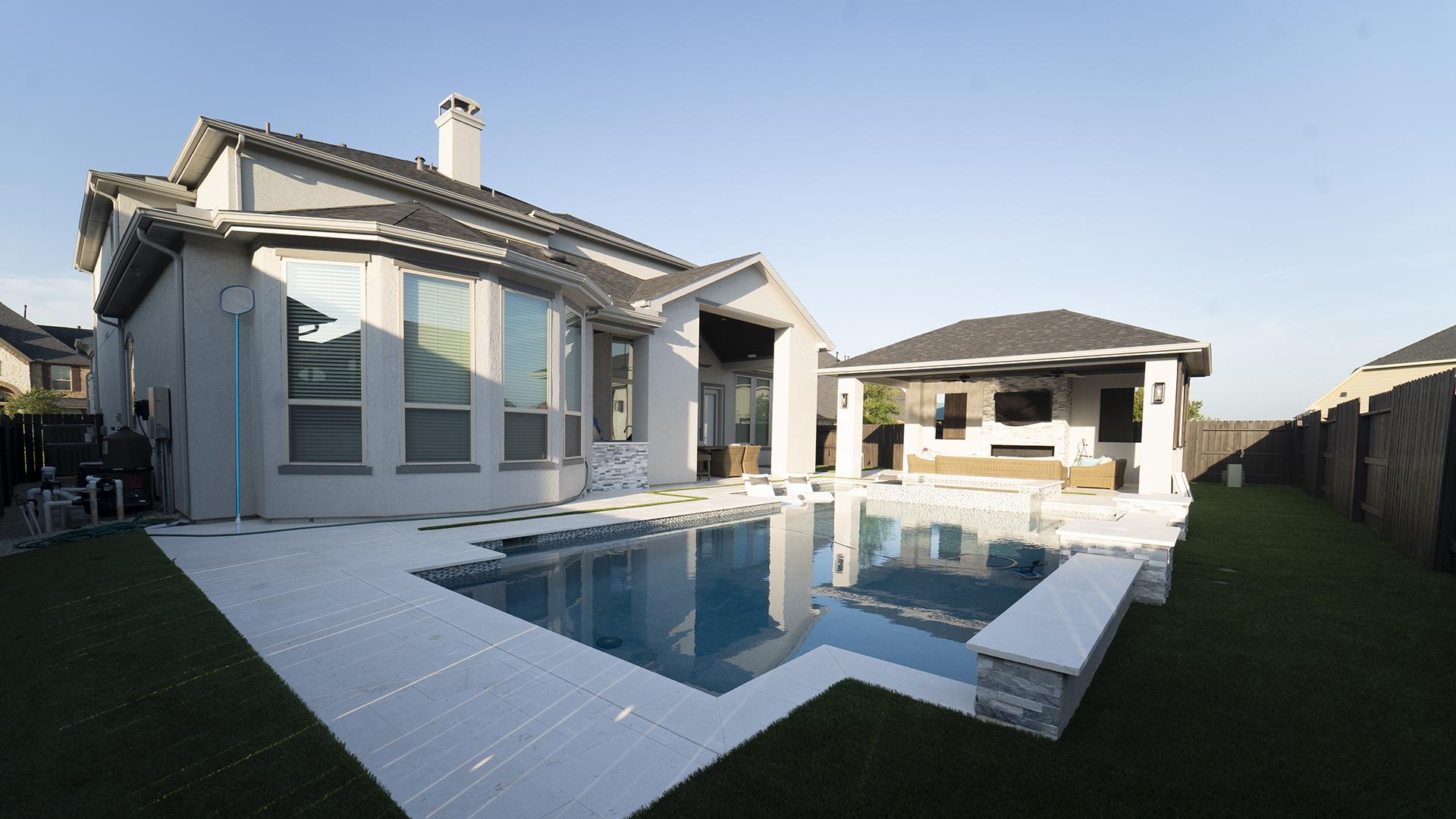full view of modern backyard